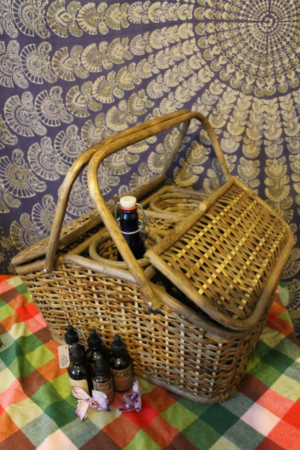 Wicker picnic basket found and Sanford & Kid Antique Co-op in North Adams, MA
